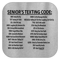 Senior Citizen Texting Code T-Shirt 50th Birthday Party Ideas For Men, Birthday Gag Gifts, 60th Birthday Party, Birthday Games, Birthday Greetings, Funny 50th Birthday Quotes, Birthday Board, Birthday Wishes, Old People Jokes