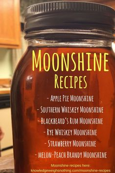 5 Moonshine recipes for you to try. Includes an apple pie moonshine recipe! Moonshine Whiskey, Apple Pie Moonshine, Making Moonshine, How To Make Moonshine, Moonshine Mash Recipe, Moonshine Drink Recipes, Strawberry Moonshine Recipe, 5 Gallon Moonshine Recipe, Salted Caramel Moonshine Recipe