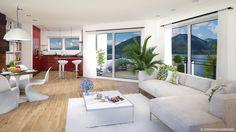 3d Visualization, Real Estate Agency, Under Construction, Switzerland, 3 D, Windows, Kitchen Living, Architecture, Building