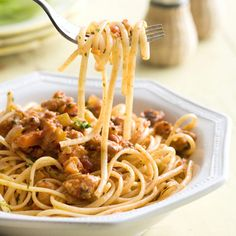 Chicken Bolognese  This family dinner recipe combines lean ground chicken, linguine, and classic Bolognese ingredients.
