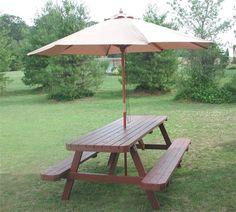 Teak Wood Picnic Table With Umbrella Hole Larchmont Picnic Table - Custom picnic table umbrellas