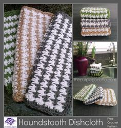 Houndstooth Dishcloth – Free Crochet Pattern – The Purple Po