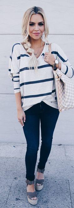 White Striped Knit / Navy Skinny Jeans / Grey Platform Sandals