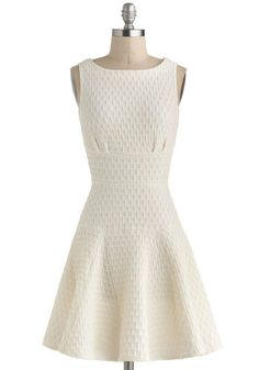 Bridal shower dress, would look super cute with a thick tan belt  The Perfect Thatch Dress in Cream, #ModCloth