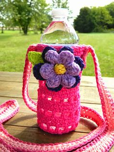 On the weekends, I enjoy going on nature walks with my family. There is a park nearby with the most amazing trails and beautiful scenery. Kawaii Crochet, Cute Crochet, Crochet Hair, Bottle Bag, Water Bottle, Crochet Cup Cozy, Crochet Kitchen, Unique Crochet, Crochet Purses
