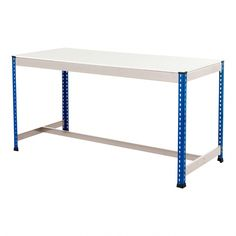 Blue & Galvanised T-Bar Workbench With Melamine Worktop