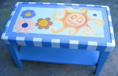 """This small coffee table is call """"let the sun shine in!!!""""  It retails for $75 at Knot on Main, Dunedin Fl.  Art by D Dunbar"""