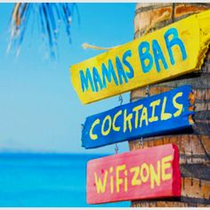a bar with cocktails and wifi. Summer Fun, Summer Time, Cottage Signs, Beach Reading, I Love The Beach, Ocean Beach, Playa Beach, Beach Signs, Beach Bars