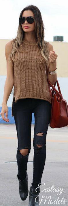Sleeveless Fall Sweater // Fashion Look by Jasmine Tosh