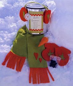 Snowman in a can. Super easy gift for neighbor or someone with kids.