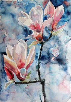 ARTFINDER: Magnolia by Kovács Anna Brigitta - Original watercolour painting on high quality watercolour paper. I love landscapes, still life, nature and wildlife, lights and shadows, colorful sight. Thes...