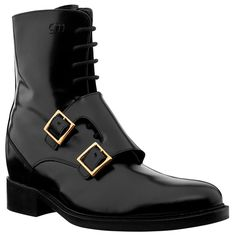 Elevator Boots - Upper in shiny black calfskin, Gold filled buckle, handcrafted, anti-slip rubber sole. Hand Made in Italy. elevator shoes, height increasing shoes, tall shoes