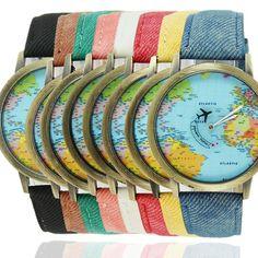 Plane World Map Pattern Travel Watches Denim Quartz Watch Cusual Dress Watch 50 - Shopping Guide Map Watch, World Map Design, Couple Watch, Map Globe, By Plane, Bronze, Denim Fabric, Fashion Watches, Shopping