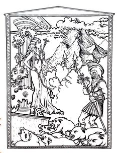 Odyssee homere - Myths & legends Coloring Pages for Adults - Just Color Free Coloring Pages, Coloring Books, Homer Odyssey, Wiccan Crafts, Quilling Patterns, To Color, Werewolf, Color Patterns, Vintage World Maps
