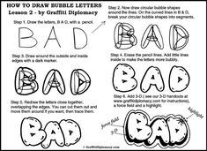 How to Draw Bubble Letters Step by Step - Graffiti Art Lessons- Free Tutorials - Learn how to draw g Graffiti Art, Graffiti Lettering Fonts, Graffiti Drawing, Graffiti Alphabet, Creative Lettering, How To Draw Graffiti, Drawing Lessons, Art Lessons, Drawing Ideas