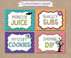 SCOOBY DOO BIRTHDAY Printable Tent Labels/Food by kimberlyjdesign