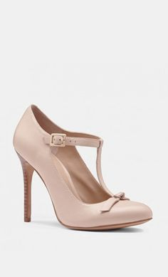 T-strap leather pumps