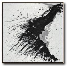 Hand-painted Minimalist Drip painting on canvas, black, white, grey. – CZ Art Design