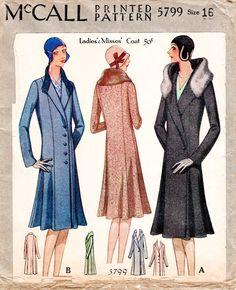 Vintage Sewing Pattern 1920s 1930s single breasted winter coat NOK 178.28 App £17.14