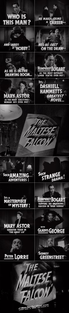 The Maltese Falcon (1941) trailer typography – the Movie title stills collection ✇ 'THE MALTESE FALCON' (1941) directed by John Huston, starring Humphrey Bogart, Mary Astor, Peter Lorre, Sydney Greenstreet #FilmNoir #Noirvember #WarnerBros