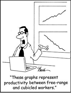 Cartoon on work spaces.