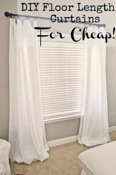 DIY Floor length curtains for cheap! - at lizmarieblog.com   she uses table clothes, if i did this, I would sew them so they arent all bunched up on the floor.
