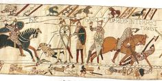 The Bayeux Tapestry (from 1070) 230ft long depicts the events leading up to the Norman conquest of England. (This panel shows the death of Harold the English King.) It is one of the most important historical 'diaries'. Musée de la Tapisserie de Bayeux, France