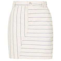 TopShop Moto Stripe Denim a-Line Skirt ($42) ❤ liked on Polyvore featuring skirts, knee length a line skirt, stripe skirt, white denim skirt, white skirt and striped skirt