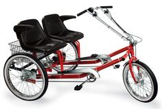 Dual Seat Adult Tricycle helps you sit next to your partner while biking! I'd love this!