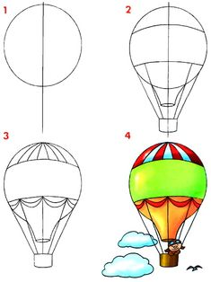 How to draw a hot air balloon step by step (art lesson, kids) Dibujar medios de transportes aéreos ~ Rayito de Colores Drawing Lessons, Art Lessons, Drawing Tips, Drawing Ideas, Drawing Hair, Drawing Techniques, Doodle Drawings, Easy Drawings, Doodle Art
