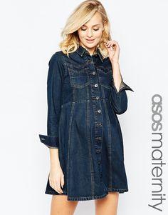 Immagine 1 di ASOS Maternity - Vestito chemisier di jeans stile western con  gonna morbida Abiti cf7f0c1fd00