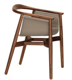 Pelle armchair Walnut structure / Beige leather seat | Armchair Zeitraum