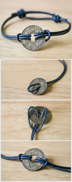 Turn a souvenir coin from your travels into a simple, attractive bracelet. (This is an antique African coin.)