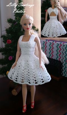 Croochet Dress made by Lilly Santiago Crochet Patterns Dress Crochet Dress made by Lilly Santiago Click Visit link above for more info crochet barbie doll clothes for beginners Jake s cocktail dress barbie This Pin was discovered by Rho fashion 20 free vi Crochet Doll Dress, Crochet Barbie Clothes, Doll Clothes Barbie, Knitted Dolls, Barbie Doll, Barbie Baba, Crochet Dresses, Ag Dolls, Girl Dolls