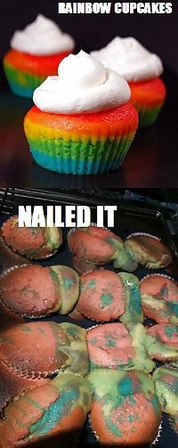 Rainbow cupcakes -- nailed it!