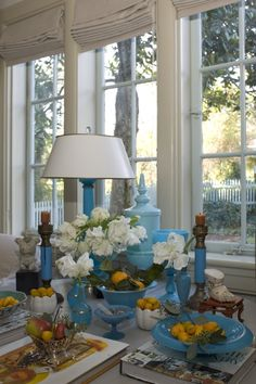 Love the way this collection is displayed to create the blue & turquoise vignette.