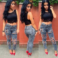 You can never go wrong with a cute pair of ripped jeans and a tank top!