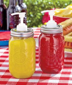 Add a touch of country to your next get-together with the Set of 2 Mason Jar Condiment Dispensers. The 16-oz. liquid capacity is perfect for picnics and other party settings. The screw top lid makes i