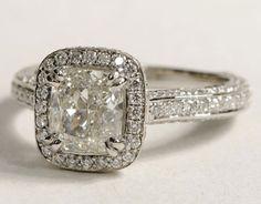 Radiant cut diamond engagement ring.