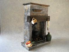 Doll House keuken open haard steen Cottage koken Puppenhaus Kamin dukkehus peis…