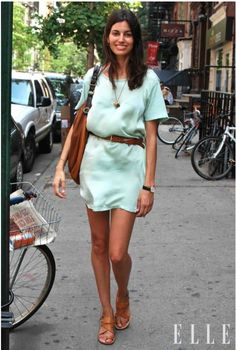 Minty mini-dress: silk, paired with leather belt, bag and shoes. Great contrasting materials. Very pretty.