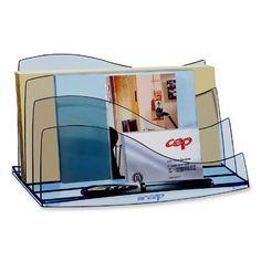 Cep Desk Accessories, Letter Sorter, Transparent/Ice Blue