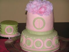 Pink and green girl first 1st birthday cake smash cake