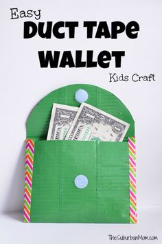 How To Make A Duct Tape Wallet -- a great Girl Scout Troop Idea to carry dues in. This easy duct tape craft is a great way to teach kids about money. Really want fantastic helpful hints regarding arts and crafts? Go to this fantastic website! Duct Tape Projects, Duck Tape Crafts, Diy Projects, Crafts For Girls, Kids Crafts, Kids Diy, Easy Crafts, Neon Crafts, Summer Crafts