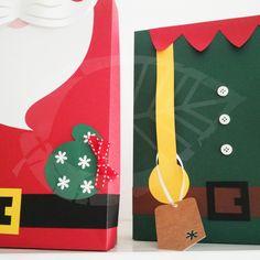 cajas santa y duende para regalos de navidad christmas
