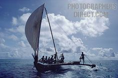 Traditional Yapese sailing canoe with outrigger now used on outer islands for long journeys Yap stock photo