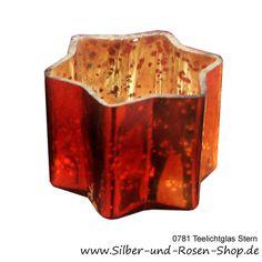 Teelichtglas Stern orange gold