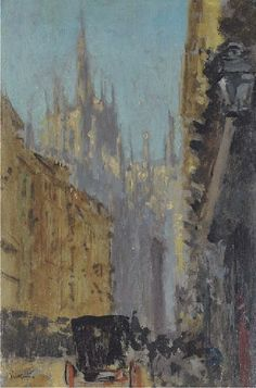 View View of Milan Cathedral By Walter RichardSickert; oil on panel; 9 x in. Access more artwork lots and estimated & realized auction prices on MutualArt. Landscape Paintings, Modern Paintings, Art Paintings, Walter Sickert, Milan Cathedral, Impressionist Artists, A Level Art, Art Courses, Post Impressionism