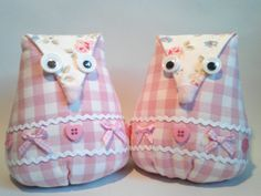 Owl bookends made from fabric
