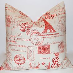 Decorative Throw Pillow Covers French Red Script on Natural 18 x 18